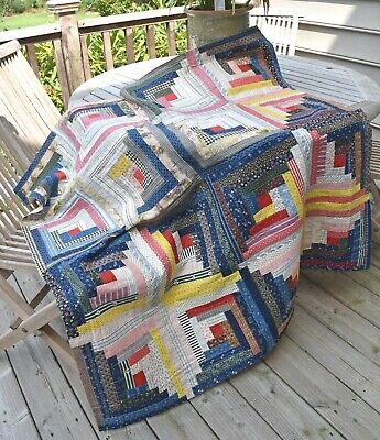 Log Cabin Antique Quilt Top: Early Fabrics, Excellent Condition