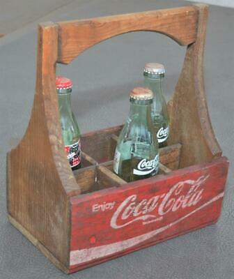 Vintage Wooden Coca-Cola Coke Bottle Carrier w/ 3 Bottles