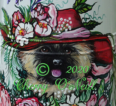 Cairn Terrier Decorative Watering Can Hand Painted Collectible Cottage Garden