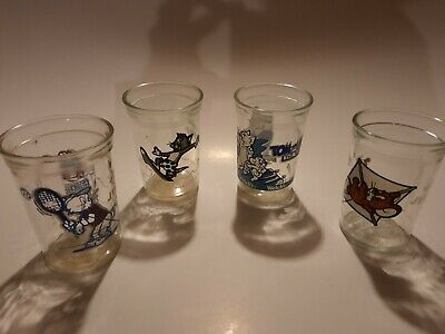 Set Of 4 Vintage Tom And Jerry Welch's Jelly Jar - Juice Glasses