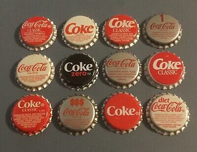 12 Coca Cola/Coke plastic lined soda bottle caps 12 different unused