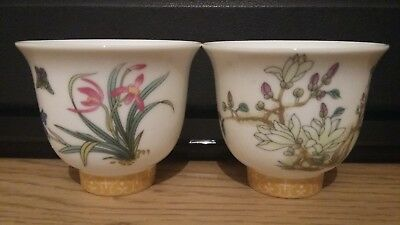2 Beautiful Chinese Hand painted Signed tea bowls ornaments gift
