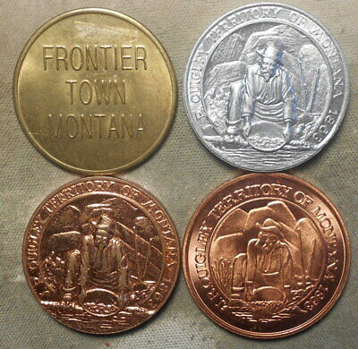 4 Different Frontier Town MT, J.R. Quigley, Territory Of Montana Gold Panners