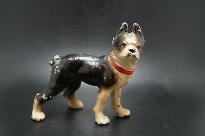 VTG Painted Paperweight HUBLEY Cast Iron BOSTON TERRIER Dog Metal