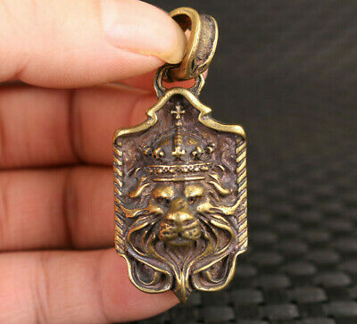Chinese old brass leo statue pendant netsuke collectable noble gift
