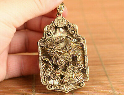 fortune old bronze hand carved kirin statue netsuke collection pendant