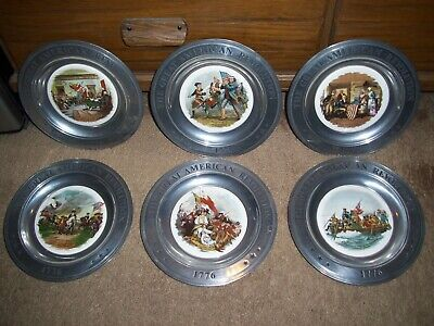 The Great American Revolution 1776 Pewter & Ceramic Plates - COMPLETE SET OF 6!