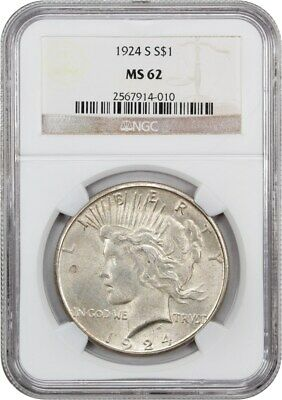 1924-S $1 NGC MS62 - Better Date from San Francisco - Peace Silver Dollar