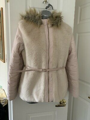 Girls Pink Hooded Part Faux Fur Padded Jacket Age 12-13 Years