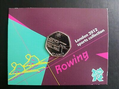 Rowing 19/29 2012 London Olympic Games 50p Uncirculated Carded Coin