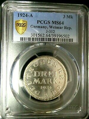 PCGS MS64 Gold Shield-Germany Weimar Rep. 1924A Eagle Silver 3 Mark Choice BU