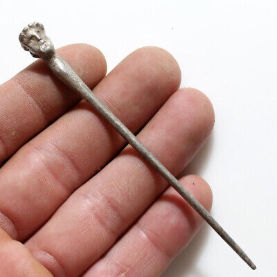 Intact Ancient Roman Silver Clothing Pin With Male Head On The Top Circa 100-400