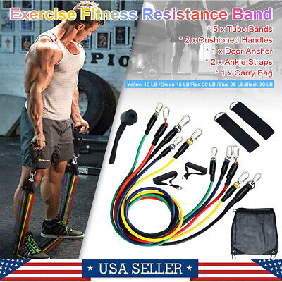 11Pc Resistance Bands Set Workout Bands W/ Door Anchors Handles Ring Straps