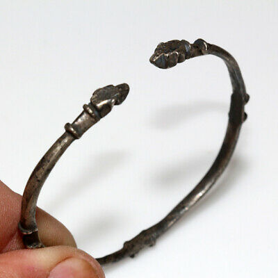 Museum Quality Ancient Romano Celtic Silver Bracelet With Animal Heads Circa 100