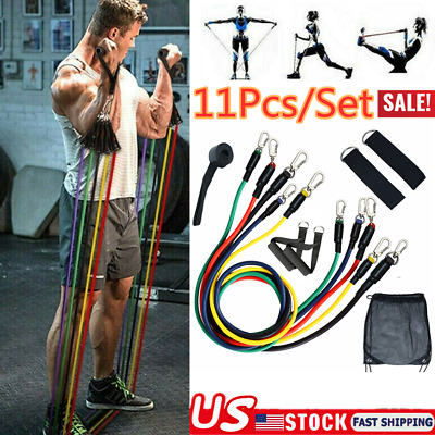 11-Piece Resistance Band Set Yoga Pilates Abs Exercise Fitness Tube Workout Band