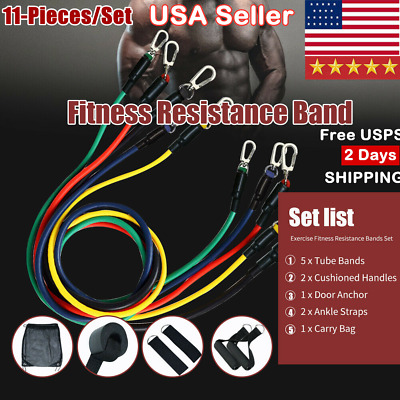 Resistance Bands Set Yoga Pilates Abs Exercise Fitness Tube Workout Band 11Piece