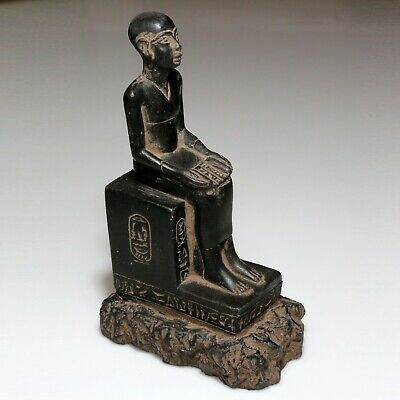 Massive Ancient Egyptian Black Stone Statue Ornament - On A New Stone Base