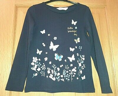 Girl's Long Sleeved Butterfly & Flower Top Age 6-8 Hardly Used