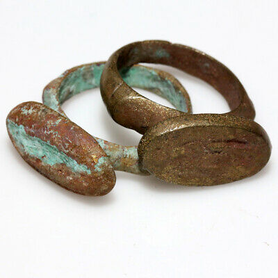 Group Of 2 Ancient Bactria Bronze Seal Rings Circa 100 Bc