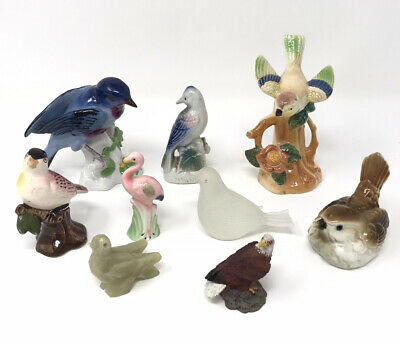 Vintage Collection Of 7 Vintage Bird Figurines: Ceramic, Glass, Porcelain