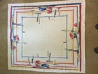 "Vintage Tablecloth Pottery and Cactus 54"" X 47"" Beautiful Colors"