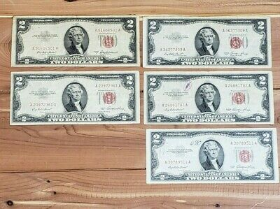 1953 Red Seal $2 Two Dollar Bill lot