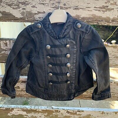 Next Girls Black Denim Jacket Military Style Buttons 3-4 Years