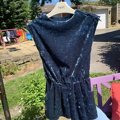 Next Girls Crushed Velvet Playsuit Short Sleeved Age 3 Years Teal Blue Party