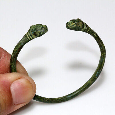 Museum Quality Ancient Roman Bronze Panther Heads Bracelet Circa 200-300 Ad