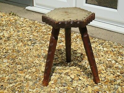 Antique Arts & Crafts Carved Wooden Milking Stool, Hide Cover - Side Lamp Table