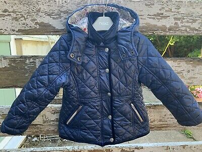 Next Girls Coat Light Weight Quilted Padded Jacket Navy Blue Age 3 Years Hood
