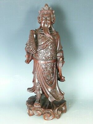 Chinese Carved Wood Emperor Figure E20Thc