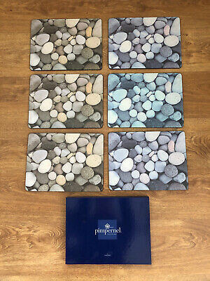 """Set of 6 Cork Backed PIMPERNEL """"Pebble"""" Placemats - Boxed"""