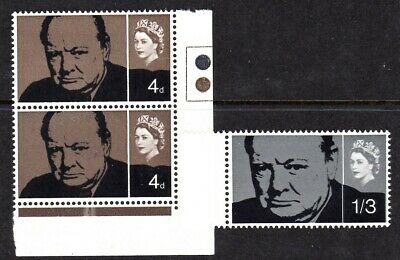 GREAT BRITAIN #420-421 MNH DEATH OF SIR WINSTON S. CHURCHILL 4p x 2 COLOR CODE