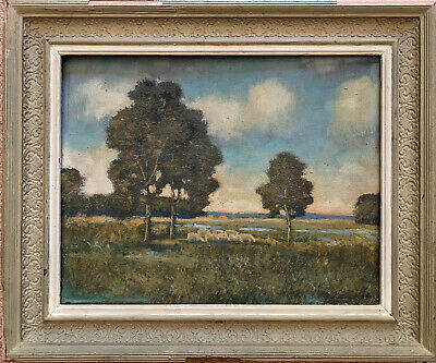 Mid 20Th Century French Signed Oil - Hazy Summer River Meadows Sheep Grazing