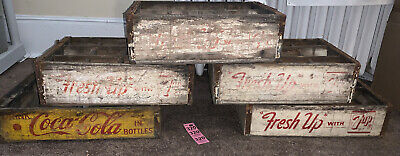 5 ANTIQUE Vintage  COCA COLA 7 UP SODA BEVERAGE CRATE CARRIER WOODEN RARE