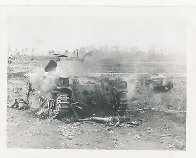 WWII 1940s GI's  South Pacific Photo burning Japanese tanks