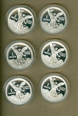 Six 1990 Mexico Proof One Ounce Silver Libertad Coins