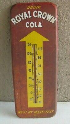"""Vintage Drink RC Royal Crown Cola Advertising Thermometer 26"""" tall Hard to Find"""
