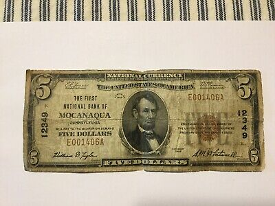 1929 The First National Bank Of Mocanaqua Pa. Five Dollar Bill