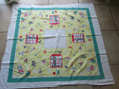 Vintage Kitchen Theme Table Cloth 45 X 50 Textured Cotton
