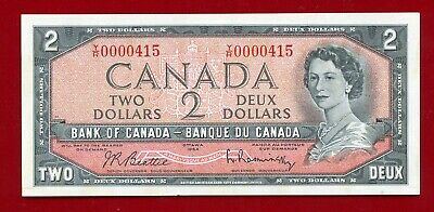 """Canada Bank Of Series Of 1954 $2.00  """"Low Serial Number"""" Y/R 0000415 Full Center"""