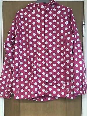 Gilrs White Polka Dot Pink Raincoat Jacket Age 13 Years By Peter Storm