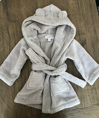 Little White Company Hydrocotton Baby Dressing Gown Grey Size 0-6 Months