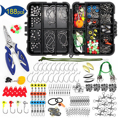 188PCS Fishing Accessories Kit with Tackle Box Pliers Jig Hooks Swivels Snaps