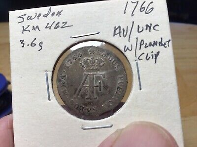 1766 Sweden Silver 5 Ore, Almost Uncirculated/Uncirculated with planchet clip!
