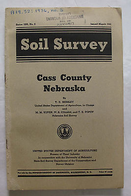 Folded Soil Survey Map Cass County Nebraska Plattsmouth Elmwood Nehawka Murdock