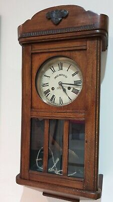Antique Vintage Wooden Oak Case Pendulum Wall Clock With Chimes For Restoration