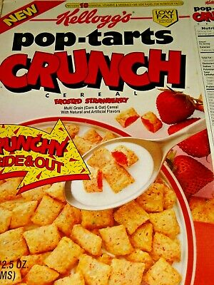 VINTAGE CEREAL BOX Kellogg's New POP-TARTS CRUNCH Frosted Strawberry 1995