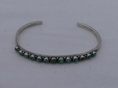 Vintage Southwest Sterling Silver Small Turquoise Cuff Bracelet